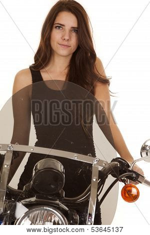 Woman In Black Stand By Motorcylce Smile