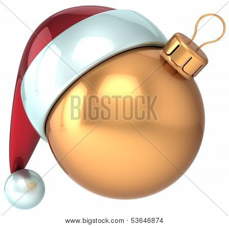 Christmas ball gold Happy New 2014 Year bauble decoration Santa hat icon