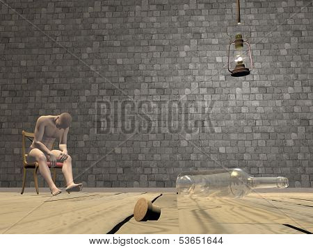 Drunk man scene - 3D render