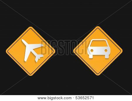 Road sign flat shadow