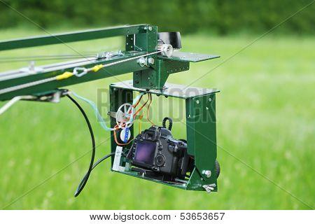 Homemade crane for camera, shooting outdoors