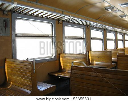 inside of Ukrainian carriage of electric train