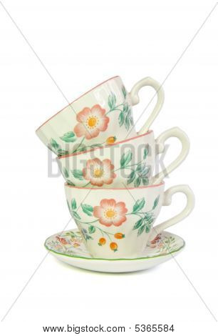 Stack Of Three Tea Cups Isolated