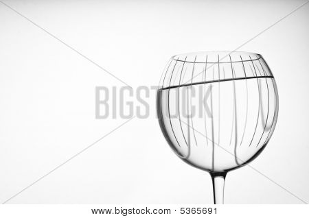 Large Red Wine Crystal Bowl Glass Isolated On White