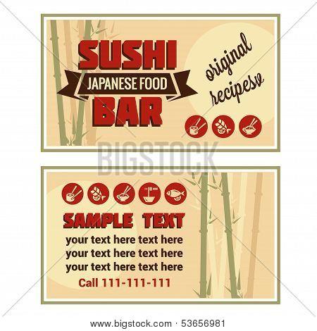 visiting card of sushi bar
