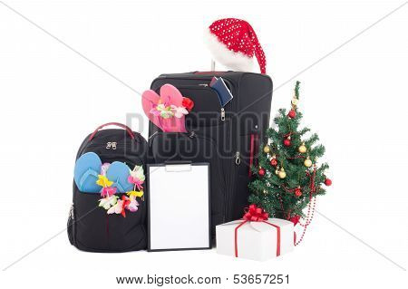 Christmas Trip - Suitcase And Packpack, Giftbox, Wishlist And Christmas Tree