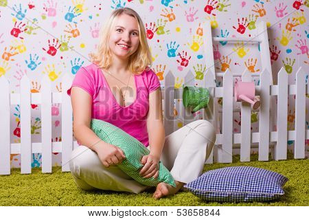 Woman Sits And Smile