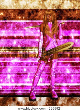 Confident Female Sci Fi Warrior