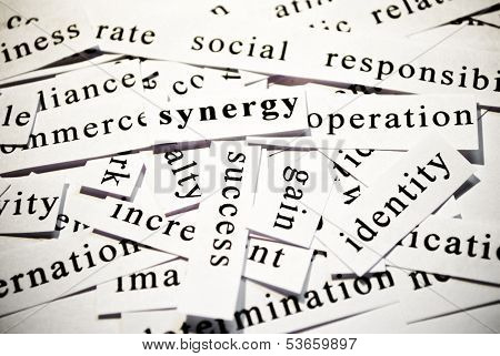 Synergy. Concept Of Words Related With Business