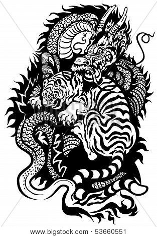 Dragon And Tiger Tattoo Black White