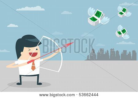 Businessman Target with money