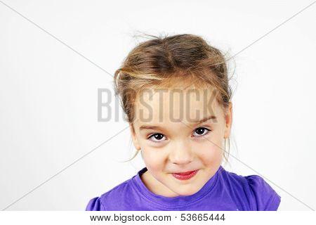 Mischievous Little Blond Girl
