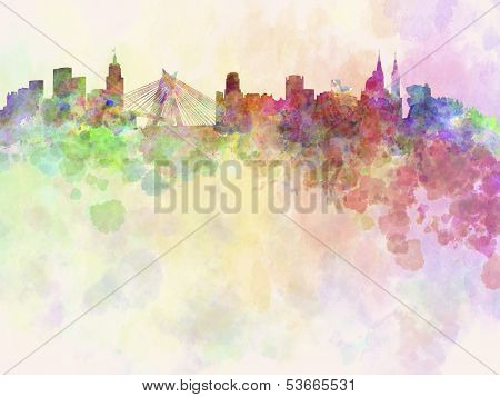 Sao Paulo Skyline In Watercolor Background