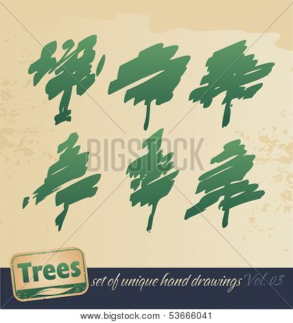 Trees -hand drawing set