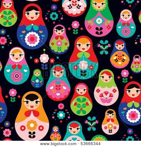 Seamless colorful retro Russian Doll illustration cover design background pattern in vector