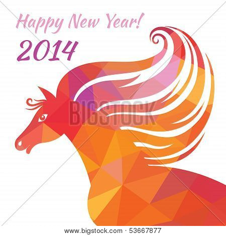 Horse - Happy New Year. Abstract illustration of geometric shapes.