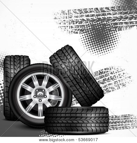 Car Wheels And Tire Tracks