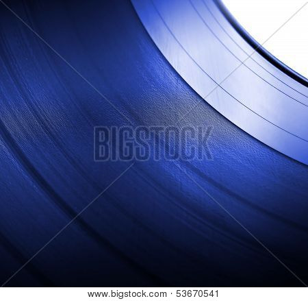 Vinyl Lp Close Up Blue Background
