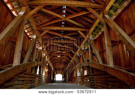 Inside a covered bridge of Indiana