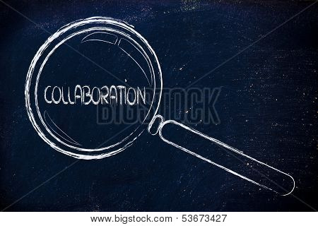 Focusing On Teamwork And Collaboration, Magnifying Glass Design