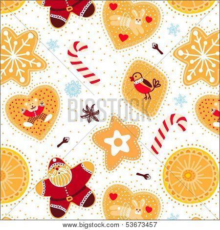 background with seamless vector christmas pattern with candy sticks and cookies