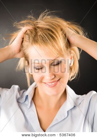 Cheerful Woman With Disheveled Hair