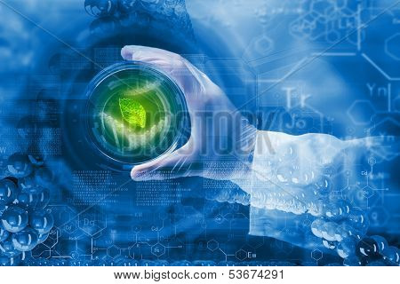 Close up image of human hand holding test tube. Science concept