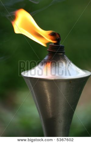 Lit Torch With Orange Flame
