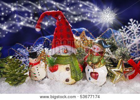 Christmas Decoration With Three Snowmen