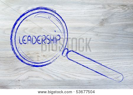 Focusing on business leadership, Magnifying Glass Design