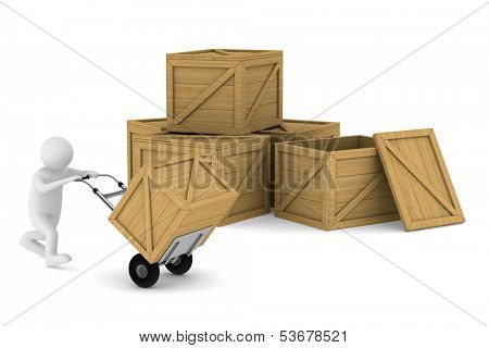 man and wooden box. Isolated 3D image