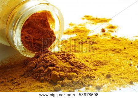 turmeric spilling out of glass jar