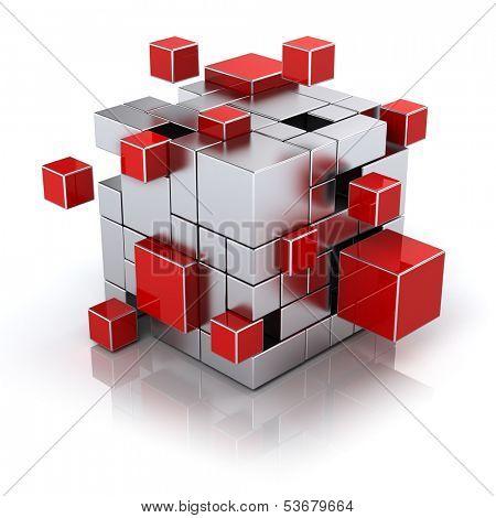 teamwork business concept - cube assembling from blocks