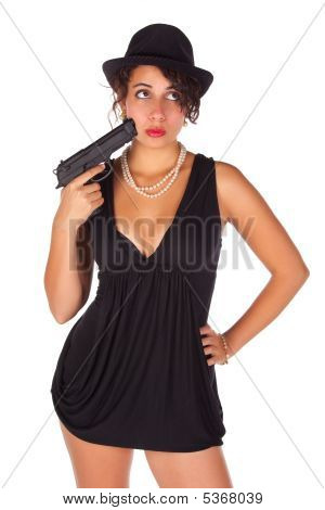 Brunette With Gun And Black Hat