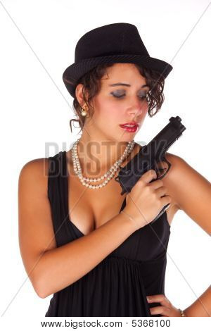 Brunette With Gun And Black Hat Ii