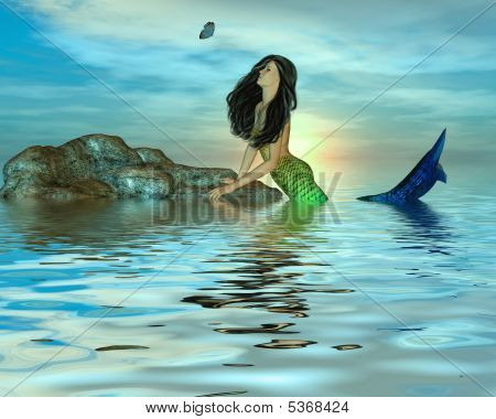 Mermaid und der Schmetterling