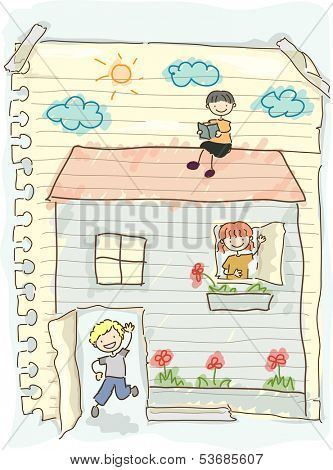 Illustration Featuring a Torn Piece of Paper with Doodles of Children Playing House