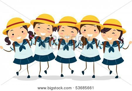 Illustration of a Group of Japanese Girls in Their School Uniforms