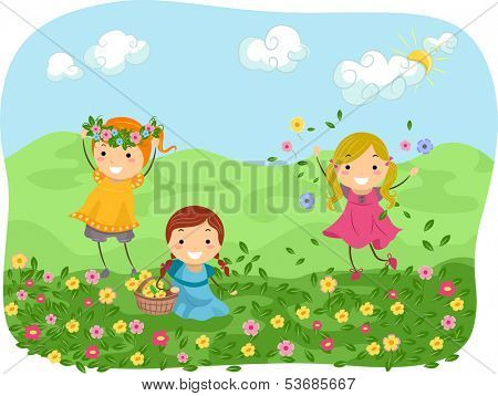 Illustration of Girls Playing with Flowers in a Meadow