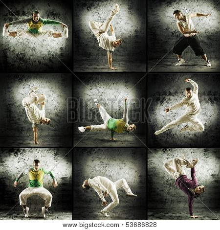Set of different photos with the man dancing breakdance and hip-hop