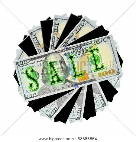 Spiral Stack of $100 bills (and shapes) with neon SALE!