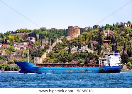 Cargo Ship Passing On Bosporus