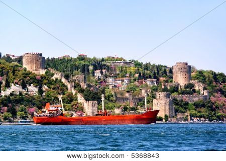 Castle And Ship On Bosporus