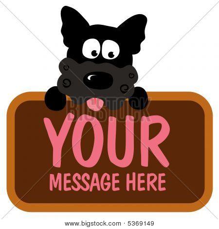 Isolated dog holding sign