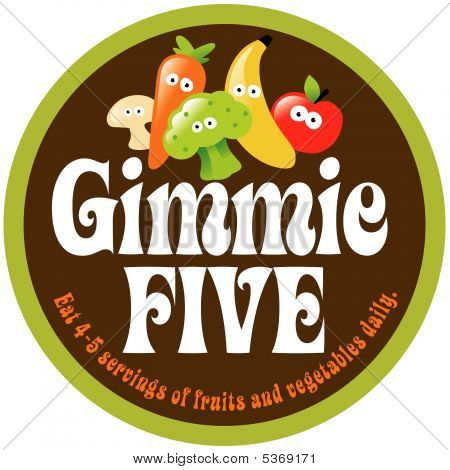70s Gimmie Five Promo Sticker/Label