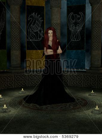 A Woman Inside A Castle