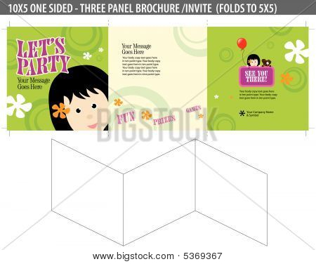 Let's Party Invite/brochure (folds down to 5x5 - cropmarks bleeds included)