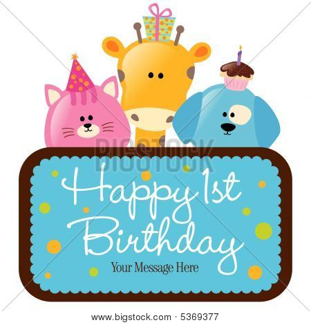 Isolated baby animals with first birthday sign