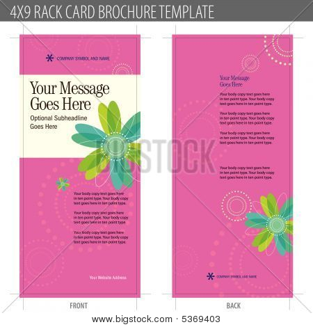 4x9 rack card brochure template vector stock vector stock photos bigstock. Black Bedroom Furniture Sets. Home Design Ideas