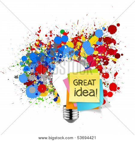 Great Idea Sticky Note With Splash Colors Lightbulb On White Background As Concept